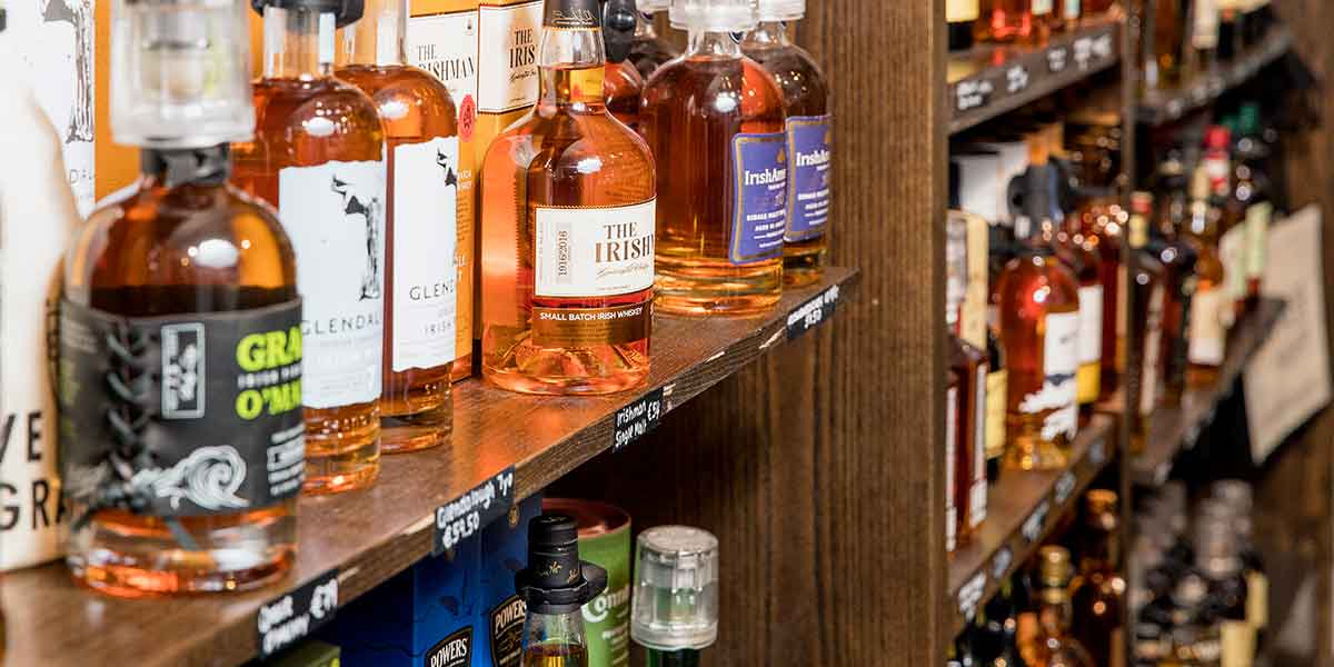 Selection of Irish whiskeys available in Irish Whiskey Museum store